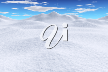 White snow hills and smooth snow surface under bright clear winter blue sky with clouds, winter snowy 3d illustration landscape
