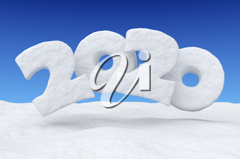 2020 Happy New Year sign text written with numbers made of snow over snowy field under clear blue night sky, snowy winter 3d illustration landscape