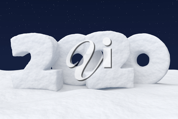 Happy New Year 2020 sign text written with numbers made of snow on snowy field under cold north clear night sky with bright stars, winter snow 3d illustration landscape
