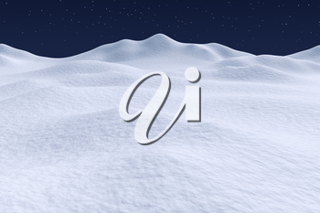 White snow hills and smooth snow surface under dark blue night sky with stars, winter snow 3d illustration landscape