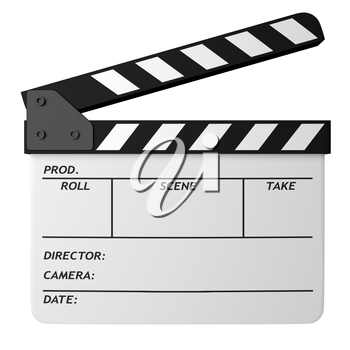 Open movie white clapper board isolated on white background. Movie, cinema, film making industry equipment. 3D Illustration.