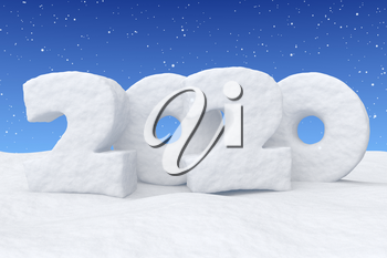 2020 Happy New Year sign text written with numbers made of snow on snow surface in snowy field under blue sky with snowfall, winter snow landscape, 3d illustration