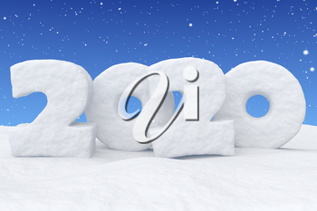2020 Happy New Year sign text written with numbers made of snow on snow surface in snowy field under blue sky and snowfall, snowy winter 3d illustration landscape