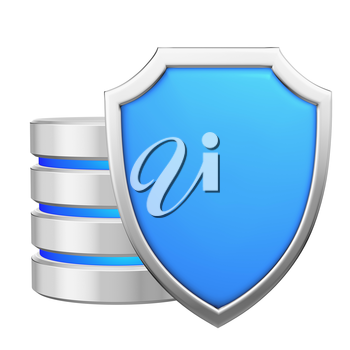 Data base behind metal blue shield protected from unauthorized access, data protection concept, 3d illustration icon isolated on white background for Data Protection Day