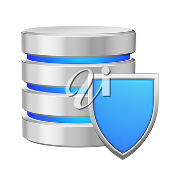 Database with metal blue shield protected from unauthorized access, data protection concept, 3d illustration icon isolated on white background for Data Protection Day