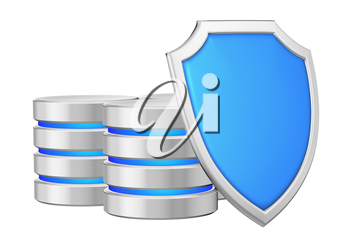 Data bases group behind metal blue shield on right protected from unauthorized access, data protection concept, 3d illustration icon isolated on white background for Data Protection Day
