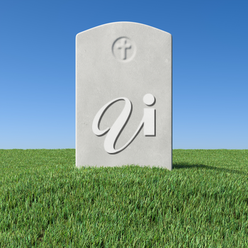 Gray blank gravestone on green grass field graveyard in memorial day under sun light under clear blue sky 3D illustration