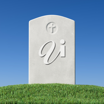 Gray blank gravestone on green grass field graveyard in memorial day under sun light under clear blue sky close-up 3D illustration