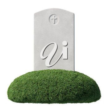 Gray blank gravestone on green grass islet under bright sunlight isolated on white background, memorial day sign, front view, 3D illustration