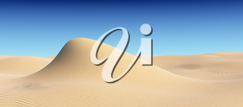 Smooth sand hill with waves under bright summer sunlight under clear blue sky, natural 3D illustration