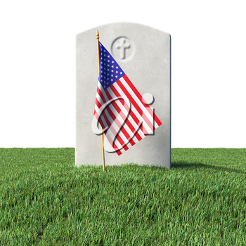 Small American flag and gray blank headstone on green grass field in memorial day under sun light isolated on white background, Memorial Day concept 3D illustration