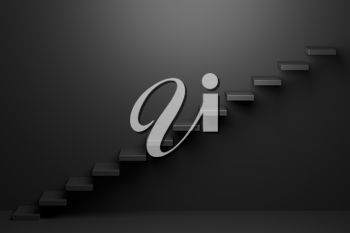Ascending black stairs of rising staircase going upward in black empty room, abstract 3D illustration. Business growth, progress way and forward achievement problems in the dark creative concept.