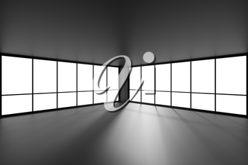 Empty black office business room with black floor, ceiling and walls and sun light from large windows and empty space black colorless business architecture office room 3d illustration