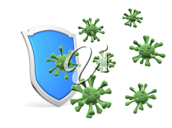 Shield protect form viruses and bacterias isolated on white 3D illustration, COVID-19 coronavirus protection, medical health, immune system and health protection concept