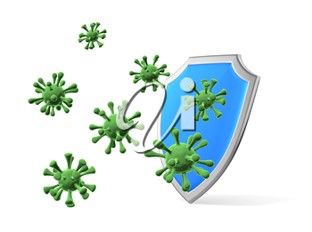 Shield protect form viruses and bacteria cells isolated on white 3D illustration, coronavirus COVID-19 protection, medical health, immune system and health protection concept