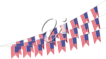 American flags strings decorative hanging bunting, bright USA patriotic flags garlands isolated on white. 4th of July, Independence day holidays decoration 3D illustration