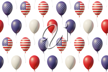 USA Independence Day celebration background with balloons with American flags, stars, lines, vintage colors, flying up isolated on white. 4th of July seamless 3D illustration background