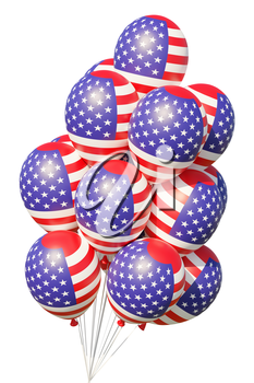4th of July patriotic balloons with ribbons, painted with USA flag  isolated on white.  United States of America Independence Day celebration decoration, 3D illustration.