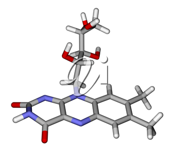 Optimized molecular structure of riboflavin (vitamin B2) on a white background
