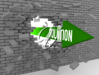 Arrow with word Solution breaking brick wall. Concept 3D illustration.