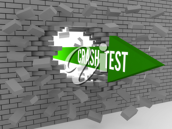 Arrow with words Crash Test breaking brick wall. Concept 3D illustration.