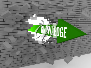 Arrow with word Knowledge breaking brick wall. Concept 3D illustration.
