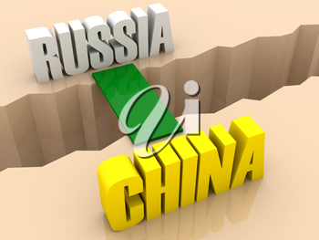 Two countries RUSSIA and CHINA united by bridge through separation crack. Concept 3D illustration.