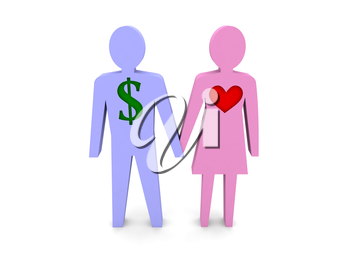 Couple. Man with dollar sign instead of the heart. Concept 3D illustration.
