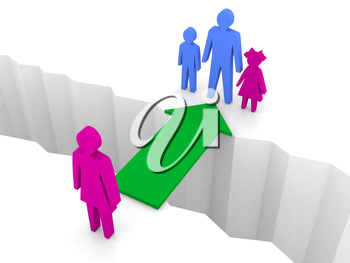 Bridge from woman to man with children. Family reunion. Concept 3D illustration.