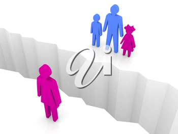 Woman and man with children split on sides, separation crack. Concept 3D illustration.