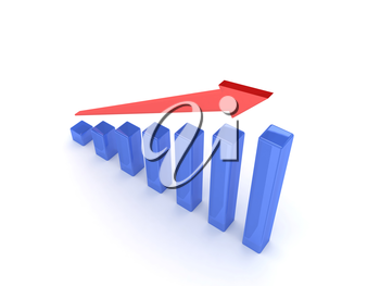 Business graph with rising arrow. Concept 3D illustration.