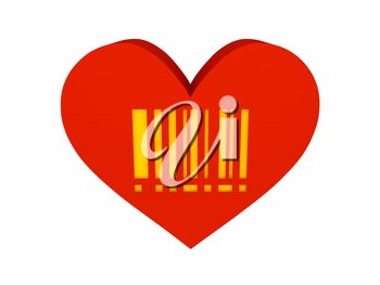 Big red heart with barcode symbol. Concept 3D illustration.