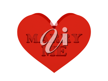 Big red heart. Phrase MARRY ME cutout inside. Concept 3D illustration.