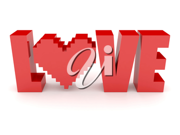 3D text Love and heart. Concept 3D illustration