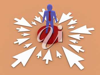 The arrows point to a businessman at the center. Concept 3D illustration.