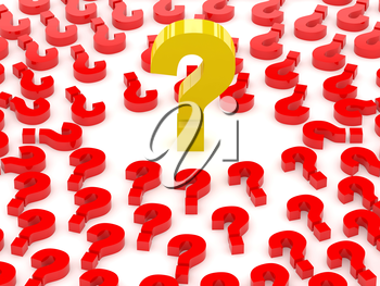 Question sign surrounded by question marks. Concept 3D illustration.