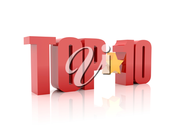 Top ten red word  isolated on white background. 3D illustration.