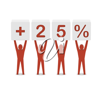 Men holding plus 25 percent. Concept 3D illustration.