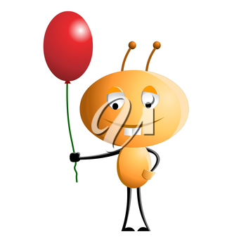 Funny cartoon character on white background.