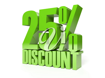 25 percent discount. Green shiny text. Concept 3D illustration.