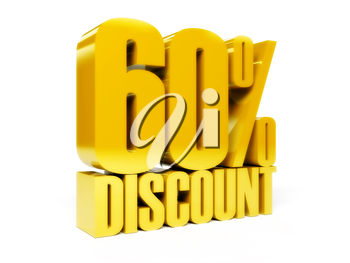 60 percent discount. Gold shiny text. Concept 3D illustration.