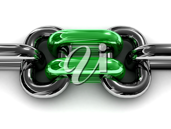 Double green chain link. Concept 3D illustration.