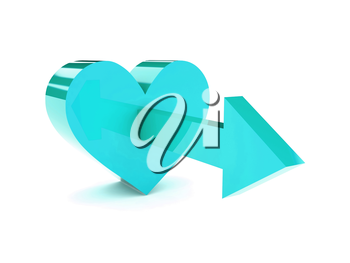 Big tranquil heart with arrow pointing forward. Concept 3D illustration.