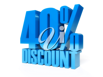 40 percent discount. Blue shiny text. Concept 3D illustration.