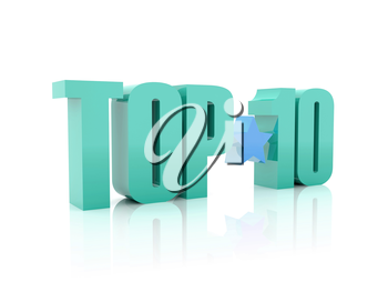 Top ten word isolated on white background. 3D illustration.