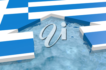 home icon in the water textured by Greece flag. 3D rendering