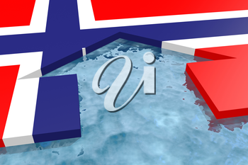 home icon in the water textured by Norwayflag. 3D rendering