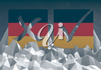 germany national flag textured vote mark on low poly landscape