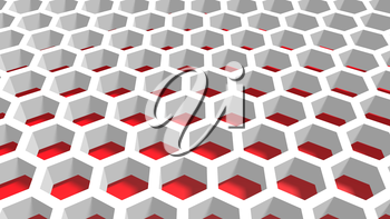 Perspective view on red and white honeycomb . 3D rendering backdrop