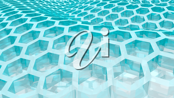 Perspective view on transparent blue honeycomb . 3D rendering backdrop